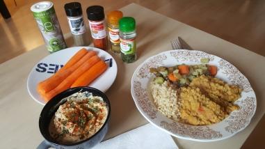 Houmous, dal aux lentilles corail, riz et julienne de légumes
